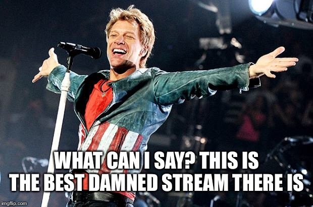WHAT CAN I SAY? THIS IS THE BEST DAMNED STREAM THERE IS | image tagged in bon jovi | made w/ Imgflip meme maker