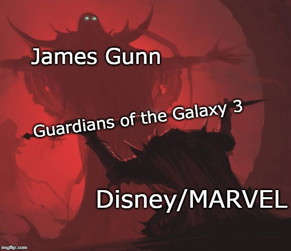 Man giving sword to larger man | James Gunn Disney/MARVEL Guardians of the Galaxy 3 | image tagged in man giving sword to larger man | made w/ Imgflip meme maker