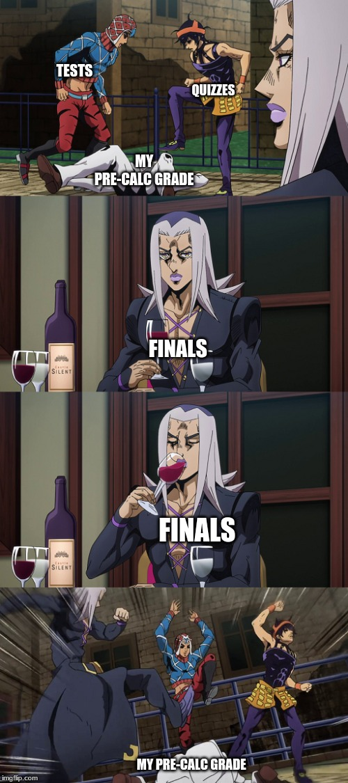 Abbacchio joins in the fun |  TESTS; QUIZZES; MY PRE-CALC GRADE; FINALS; FINALS; MY PRE-CALC GRADE | image tagged in abbacchio joins in the fun | made w/ Imgflip meme maker