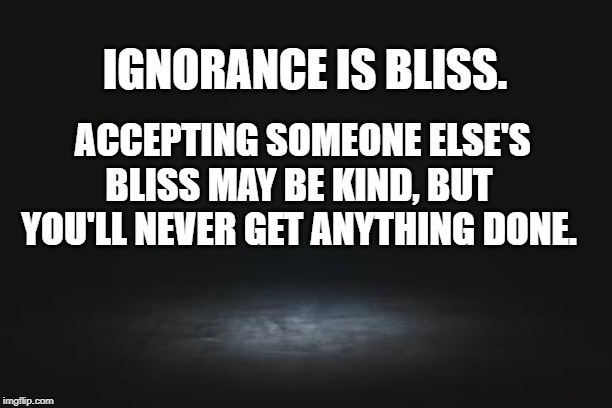 ignorance is bliss | IGNORANCE IS BLISS. ACCEPTING SOMEONE ELSE'S BLISS MAY BE KIND, BUT YOU'LL NEVER GET ANYTHING DONE. | image tagged in ignorance,bliss,ignorance is bliss | made w/ Imgflip meme maker