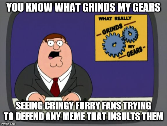 Peter Griffin News Meme | YOU KNOW WHAT GRINDS MY GEARS SEEING CRINGY FURRY FANS TRYING TO DEFEND ANY MEME THAT INSULTS THEM | image tagged in memes,peter griffin news | made w/ Imgflip meme maker