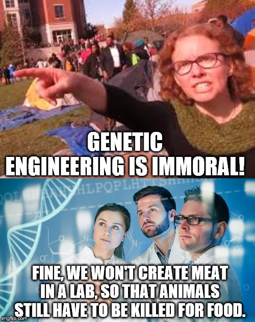 SJW Folly. |  GENETIC ENGINEERING IS IMMORAL! FINE, WE WON'T CREATE MEAT IN A LAB, SO THAT ANIMALS STILL HAVE TO BE KILLED FOR FOOD. | image tagged in sjw,genetic engineers | made w/ Imgflip meme maker
