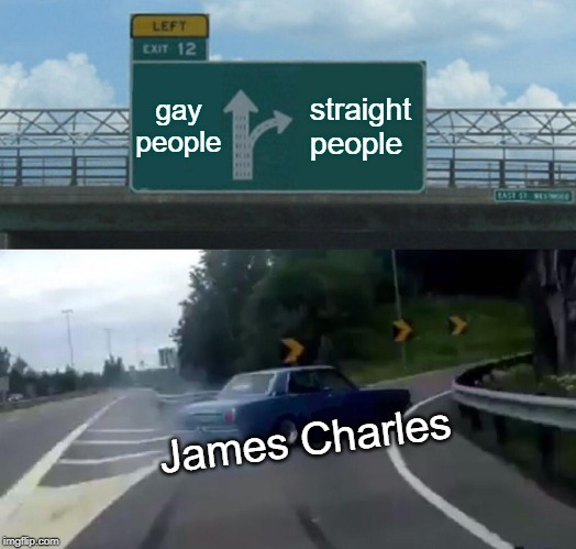Left Exit 12 Off Ramp Meme | gay people straight people James Charles | image tagged in memes,left exit 12 off ramp | made w/ Imgflip meme maker
