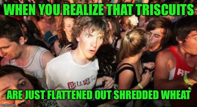 Sudden Clarity Clarence | WHEN YOU REALIZE THAT TRISCUITS ARE JUST FLATTENED OUT SHREDDED WHEAT | image tagged in memes,sudden clarity clarence | made w/ Imgflip meme maker
