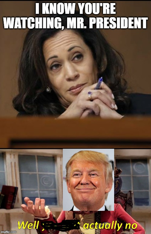 When you try to diss someone on TV and they ain't even watching (he was giving a speech elsewhere) | I KNOW YOU'RE WATCHING, MR. PRESIDENT | image tagged in kamala harris,memes,well yes but actually no,trump,president,president trump | made w/ Imgflip meme maker