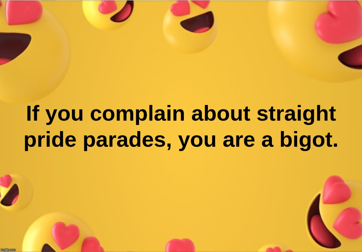 If You Complain About Straight Pride parades, you are a bigot | image tagged in complain,bigot,straight,pride,parades | made w/ Imgflip meme maker
