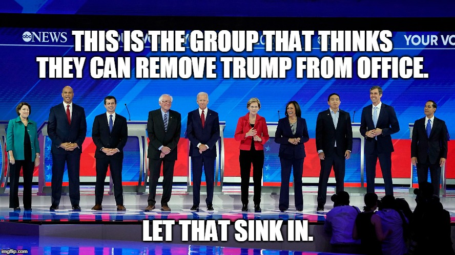 everything is free!! | THIS IS THE GROUP THAT THINKS THEY CAN REMOVE TRUMP FROM OFFICE. LET THAT SINK IN. | image tagged in trump,biden,debate,warren,libtards,election2020 | made w/ Imgflip meme maker