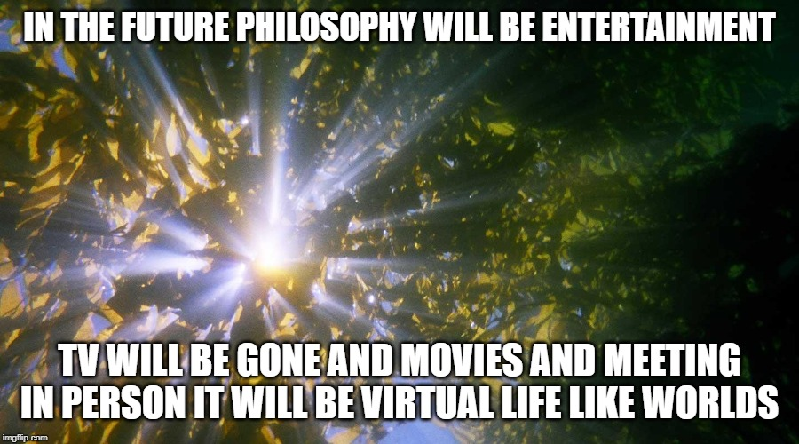 Future Establish |  IN THE FUTURE PHILOSOPHY WILL BE ENTERTAINMENT; TV WILL BE GONE AND MOVIES AND MEETING IN PERSON IT WILL BE VIRTUAL LIFE LIKE WORLDS | image tagged in future,virtual reality,virtual,computer,philosophy | made w/ Imgflip meme maker