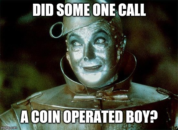 Tin Man Just Sayin' | DID SOME ONE CALL A COIN OPERATED BOY? | image tagged in tin man just sayin' | made w/ Imgflip meme maker