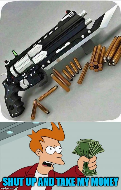 Yes please... | SHUT UP AND TAKE MY MONEY | image tagged in memes,shut up and take my money fry,yes please,funny,guns,no such thing as overkill | made w/ Imgflip meme maker
