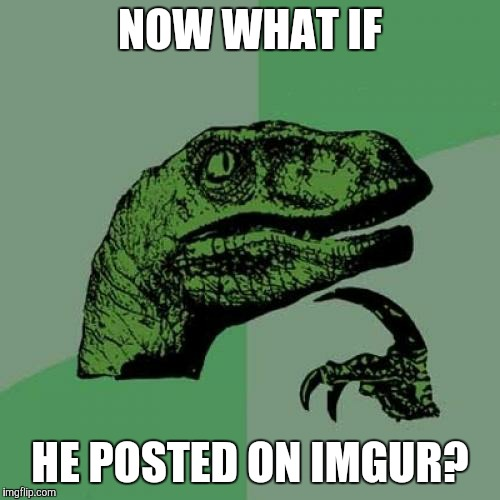 Philosoraptor Meme | NOW WHAT IF HE POSTED ON IMGUR? | image tagged in memes,philosoraptor | made w/ Imgflip meme maker