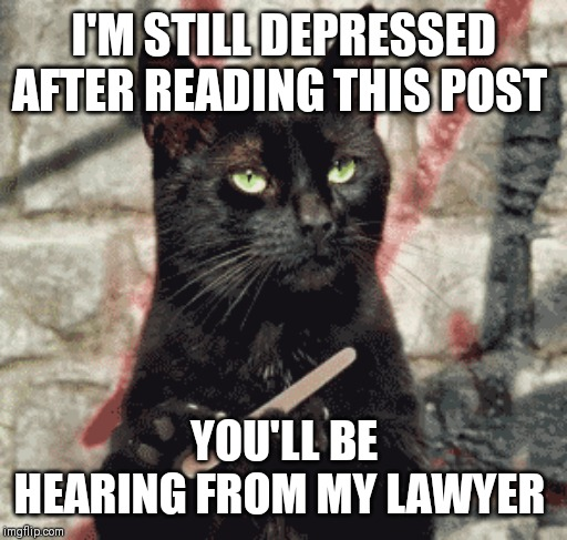 I'M STILL DEPRESSED AFTER READING THIS POST YOU'LL BE HEARING FROM MY LAWYER | made w/ Imgflip meme maker