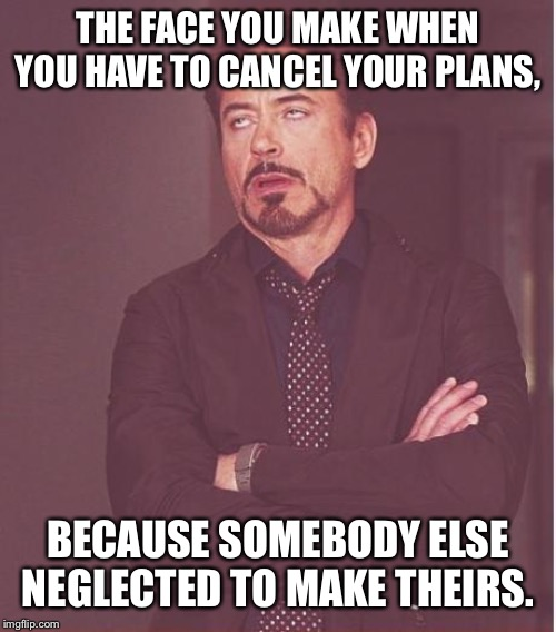 Face You Make Robert Downey Jr Meme |  THE FACE YOU MAKE WHEN YOU HAVE TO CANCEL YOUR PLANS, BECAUSE SOMEBODY ELSE NEGLECTED TO MAKE THEIRS. | image tagged in memes,face you make robert downey jr | made w/ Imgflip meme maker