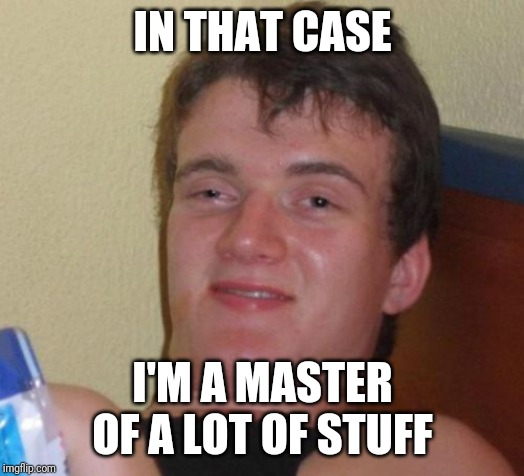 10 Guy Meme | IN THAT CASE I'M A MASTER OF A LOT OF STUFF | image tagged in memes,10 guy | made w/ Imgflip meme maker