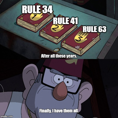Finally, I have them all | RULE 34 RULE 41 RULE 63 | image tagged in memes,rules,rule 34,gravity falls,internet,weebs | made w/ Imgflip meme maker