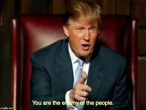 Donald Trump | You are the enemy of the people. | image tagged in donald trump | made w/ Imgflip meme maker