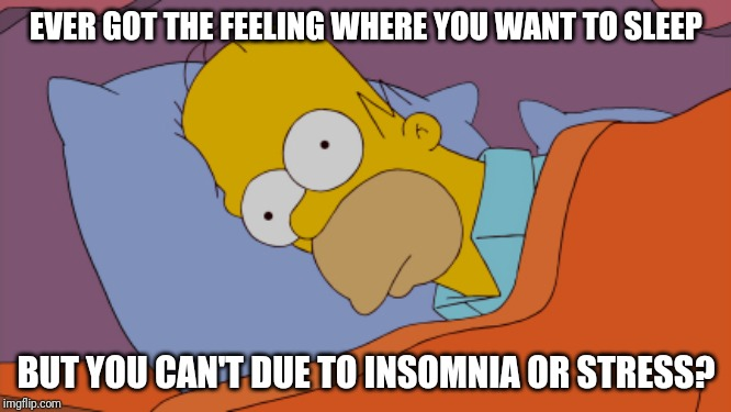 Homer Can't Sleep | EVER GOT THE FEELING WHERE YOU WANT TO SLEEP BUT YOU CAN'T DUE TO INSOMNIA OR STRESS? | image tagged in homer can't sleep | made w/ Imgflip meme maker