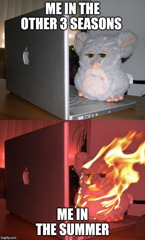 Furby Catch Fire Toxic Meme | ME IN THE OTHER 3 SEASONS ME IN THE SUMMER | image tagged in furby catch fire toxic meme,summer vacation,hot,fire,south carolina,so hot right now | made w/ Imgflip meme maker