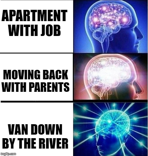 Chris Farley would be proud | APARTMENT WITH JOB MOVING BACK WITH PARENTS VAN DOWN BY THE RIVER | image tagged in expanding brain 3 panels,chris farley | made w/ Imgflip meme maker