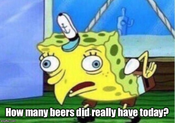 Mocking Spongebob Meme | How many beers did really have today? | image tagged in memes,mocking spongebob | made w/ Imgflip meme maker