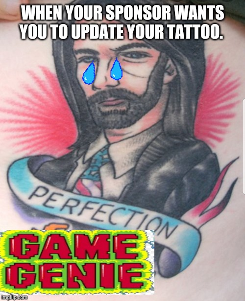 Billy Mitchell tattoo | WHEN YOUR SPONSOR WANTS YOU TO UPDATE YOUR TATTOO. | image tagged in donkey kong | made w/ Imgflip meme maker
