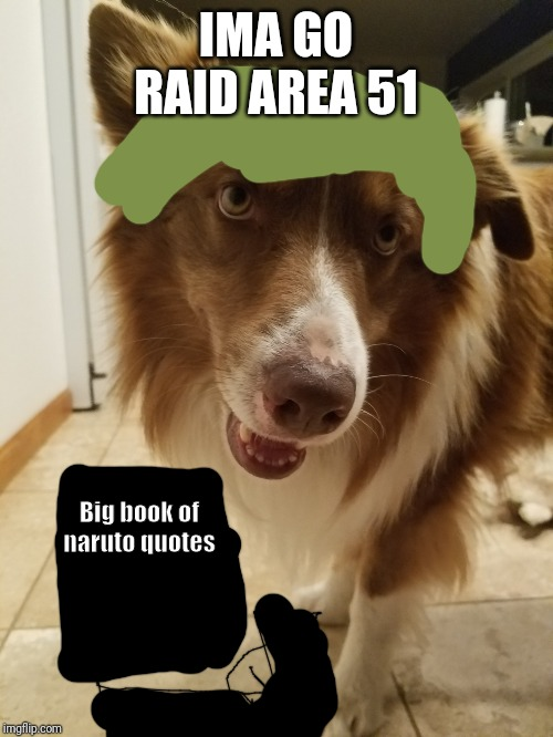 GOOD BOY | IMA GO RAID AREA 51 Big book of naruto quotes | image tagged in good boy | made w/ Imgflip meme maker