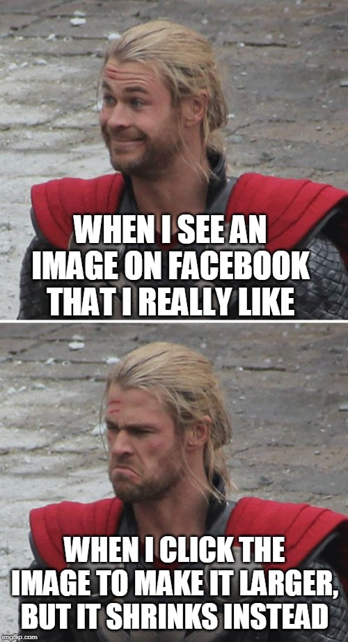 Thor happy then sad | WHEN I SEE AN IMAGE ON FACEBOOK THAT I REALLY LIKE WHEN I CLICK THE IMAGE TO MAKE IT LARGER, BUT IT SHRINKS INSTEAD | image tagged in thor happy then sad,memes,facebook,facebook problems,photography | made w/ Imgflip meme maker