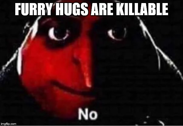 Gru No | FURRY HUGS ARE KILLABLE | image tagged in gru no | made w/ Imgflip meme maker