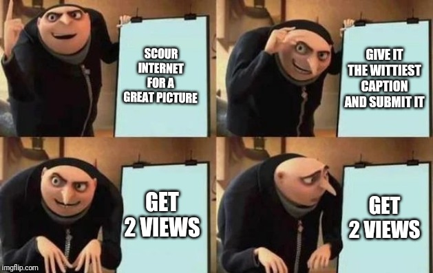 Gru's Plan | SCOUR INTERNET FOR A GREAT PICTURE GIVE IT THE WITTIEST CAPTION AND SUBMIT IT GET 2 VIEWS GET 2 VIEWS | image tagged in gru's plan,memes,funny | made w/ Imgflip meme maker