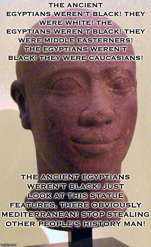 The Ancient Egyptians weren't Black.... |  THE ANCIENT EGYPTIANS WEREN'T BLACK! THEY WERE WHITE! THE EGYPTIANS WEREN'T BLACK! THEY WERE MIDDLE EASTERNERS! THE EGYPTIANS WEREN'T BLACK! THEY WERE CAUCASIANS! THE ANCIENT EGYPTIANS WEREN'T BLACK! JUST LOOK AT THIS STATUE FEATURES, THERE OBVIOUSLY MEDITERRANEAN! STOP STEALING OTHER PEOPLE'S HISTORY MAN! | image tagged in black history,history | made w/ Imgflip meme maker