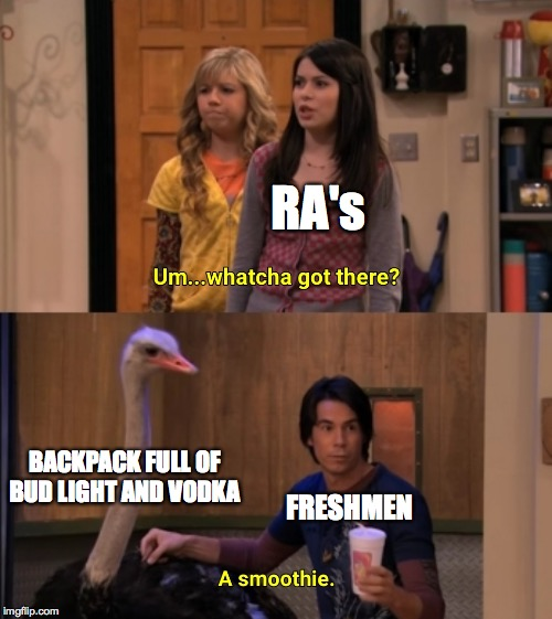 Whatcha Got There? |  RA's; BACKPACK FULL OF BUD LIGHT AND VODKA; FRESHMEN | image tagged in whatcha got there,funny,memes,funny memes,college,lol | made w/ Imgflip meme maker