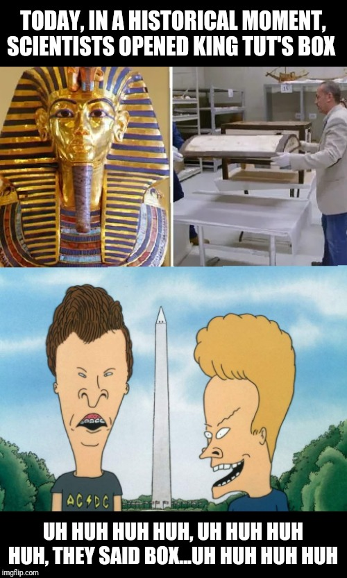 King Tut's Box | TODAY, IN A HISTORICAL MOMENT, SCIENTISTS OPENED KING TUT'S BOX UH HUH HUH HUH, UH HUH HUH HUH, THEY SAID BOX...UH HUH HUH HUH | image tagged in king tut,mummy,egypt,science,beavis and butthead,mtv | made w/ Imgflip meme maker
