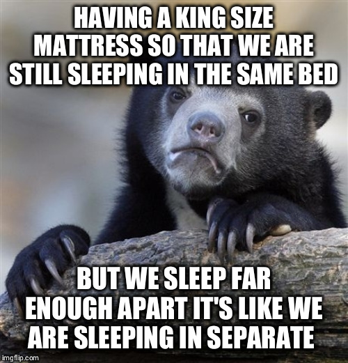 Confession Bear | HAVING A KING SIZE MATTRESS SO THAT WE ARE STILL SLEEPING IN THE SAME BED BUT WE SLEEP FAR ENOUGH APART IT'S LIKE WE ARE SLEEPING IN SEPARAT | image tagged in memes,confession bear,AdviceAnimals | made w/ Imgflip meme maker