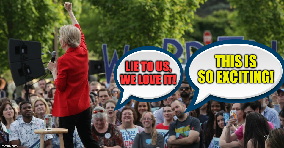 Elizabeth Warren's Minions looking Excited | THIS IS SO EXCITING! LIE TO US, WE LOVE IT! | image tagged in elizabeth warren,memes,2020 elections,lie,excited minions,minions | made w/ Imgflip meme maker