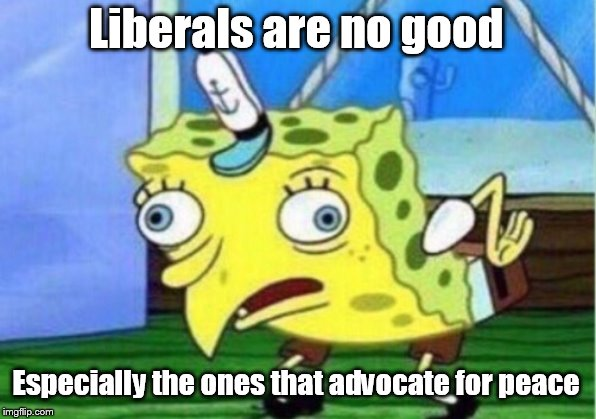 Mocking Spongebob |  Liberals are no good; Especially the ones that advocate for peace | image tagged in memes,mocking spongebob,liberal,liberals,peace,world peace | made w/ Imgflip meme maker