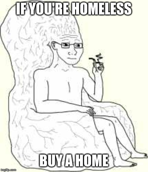 Big Brain Wojak |  IF YOU'RE HOMELESS; BUY A HOME | image tagged in big brain wojak | made w/ Imgflip meme maker
