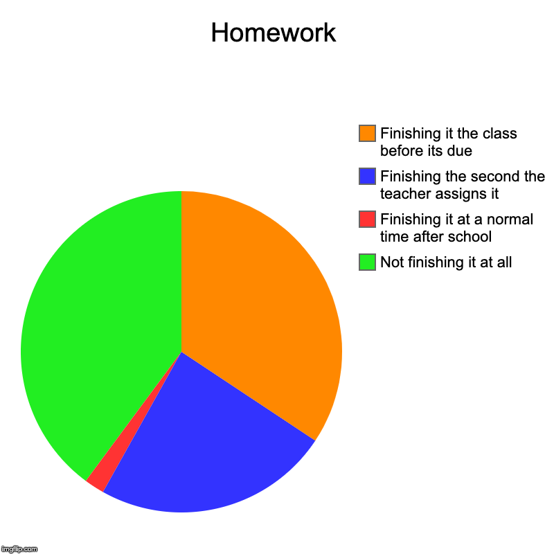 Homework | Not finishing it at all, Finishing it at a normal time after school, Finishing the second the teacher assigns it, Finishing it th | image tagged in charts,pie charts,homework,procrastination,high school,school | made w/ Imgflip chart maker