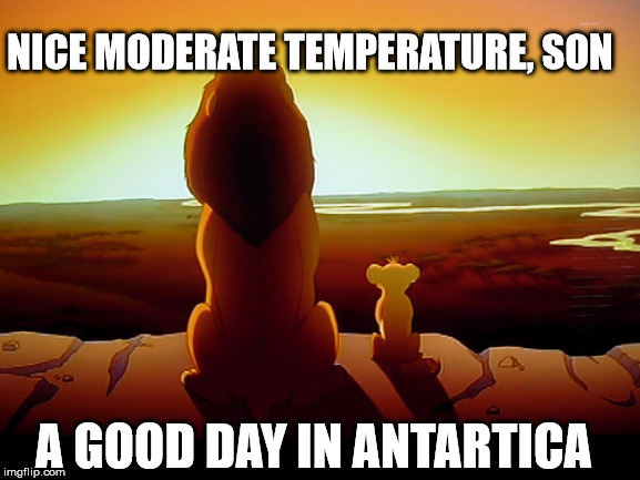 The Day After Tomorrow | NICE MODERATE TEMPERATURE, SON A GOOD DAY IN ANTARTICA | image tagged in memes,lion king,global warming,southpole,north pole,meme | made w/ Imgflip meme maker