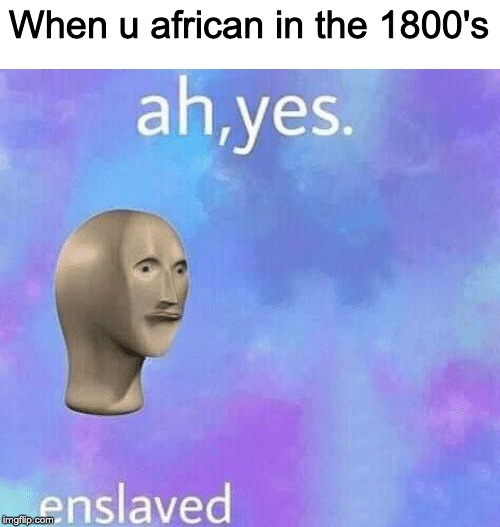 Ah Yes enslaved | When u african in the 1800's | image tagged in ah yes enslaved | made w/ Imgflip meme maker