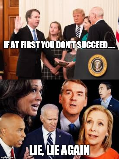 Democrats 2020- Because learning from your mistakes is SOOOO fascist. |  IF AT FIRST YOU DON'T SUCCEED..... LIE, LIE AGAIN | image tagged in democrats,kavanaugh,lies | made w/ Imgflip meme maker