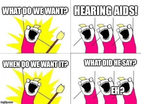 Speak up! | WHAT DO WE WANT? HEARING AIDS! WHEN DO WE WANT IT? EH? WHAT DID HE SAY? | image tagged in memes,what do we want,isaac_laugh | made w/ Imgflip meme maker