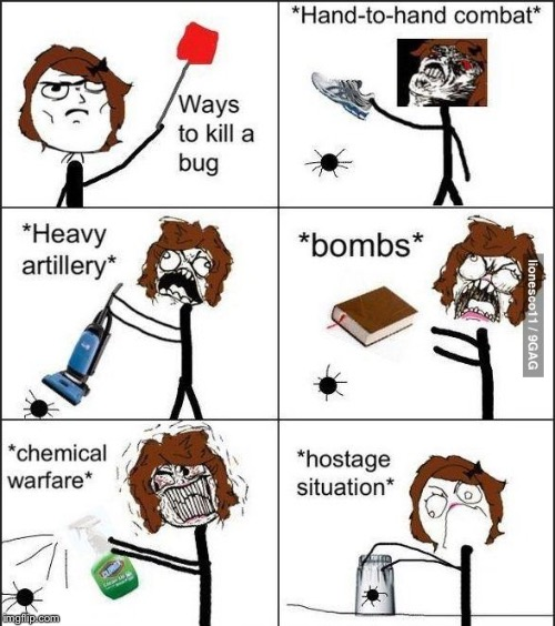 Ways To Kill A Bug | image tagged in rage comics,bug,clorox,book,vacuum cleaner,shoes | made w/ Imgflip meme maker