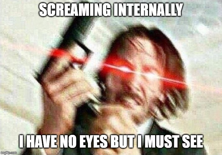 John Wick | SCREAMING INTERNALLY I HAVE NO EYES BUT I MUST SEE | image tagged in john wick | made w/ Imgflip meme maker