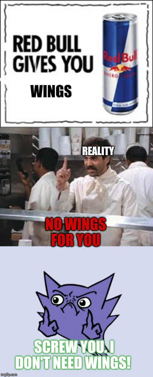 No wings for you xD | WINGS NO WINGS FOR YOU SCREW YOU. I DON'T NEED WINGS! REALITY | image tagged in no soup,red bull meme,middle finger | made w/ Imgflip meme maker