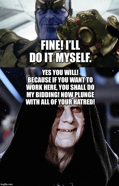 Thanos and Darth Sidious | FINE! I'LL DO IT MYSELF. YES YOU WILL! BECAUSE IF YOU WANT TO WORK HERE, YOU SHALL DO MY BIDDING! NOW PLUNGE WITH ALL OF YOUR HATRED! | image tagged in thanos,avengers age of ultron,marvel cinematic universe,darth sidious,star wars | made w/ Imgflip meme maker