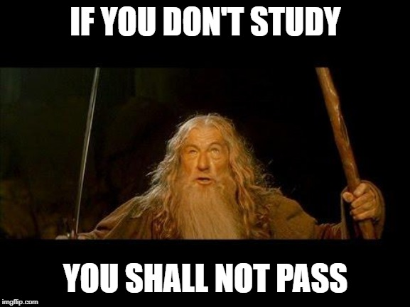 You shall not pass |  IF YOU DON'T STUDY; YOU SHALL NOT PASS | image tagged in you shall not pass | made w/ Imgflip meme maker
