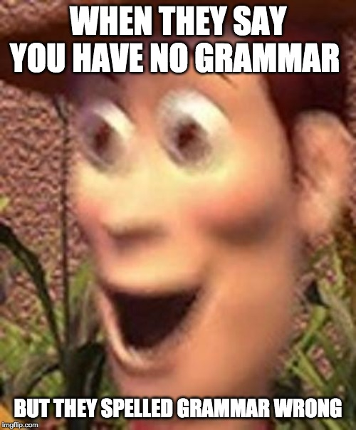 woah | WHEN THEY SAY YOU HAVE NO GRAMMAR BUT THEY SPELLED GRAMMAR WRONG | image tagged in woah | made w/ Imgflip meme maker