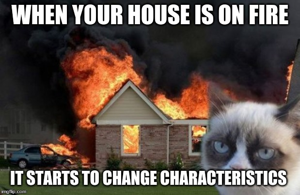 Burn Kitty | WHEN YOUR HOUSE IS ON FIRE IT STARTS TO CHANGE CHARACTERISTICS | image tagged in memes,burn kitty,grumpy cat | made w/ Imgflip meme maker