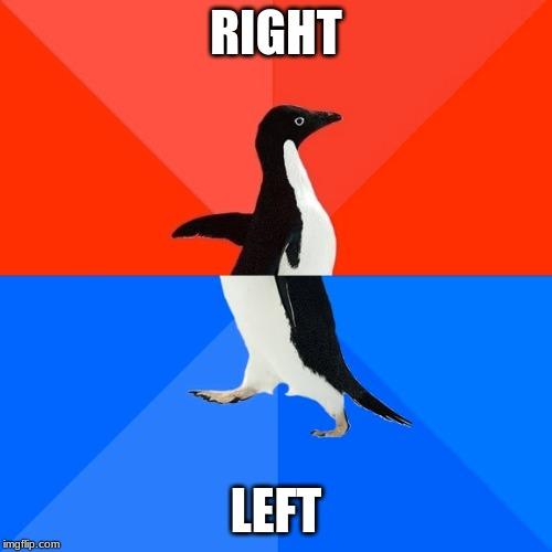 Socially Awesome Awkward Penguin | RIGHT LEFT | image tagged in memes,socially awesome awkward penguin | made w/ Imgflip meme maker