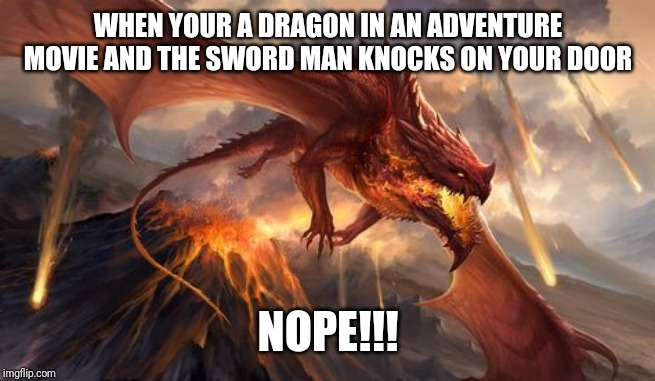 Nope | WHEN YOUR A DRAGON IN AN ADVENTURE MOVIE AND THE SWORD MAN KNOCKS ON YOUR DOOR NOPE!!! | image tagged in nope | made w/ Imgflip meme maker